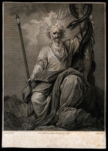 Moses_with_his_rod_and_his_brazen_serpent._Engraving_by_J._H_Wellcome_V0034280