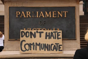 Don't_hate,_communicate_-_Save_Auslan_TAFE_Diploma_course_protest