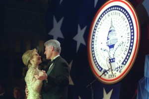 The President and First Lady enjoy a dance on stage at one of 16 Inaugural Balls